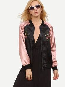 Multicolor Pockets Zipper Front Embroidery Jacket