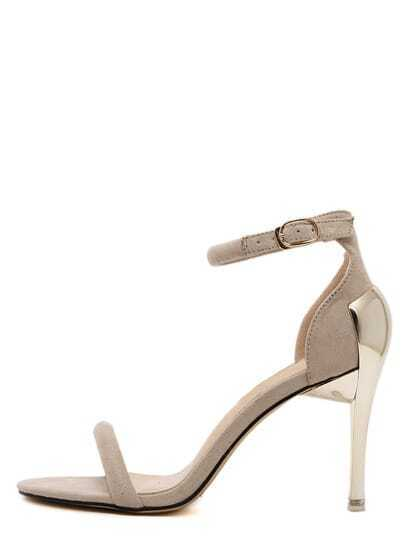 Apricot Open Toe Ankle Strap High Stiletto Sandals