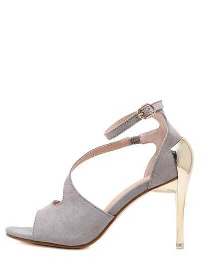 Gray Faux Suede Ankle Strap Metallic Stiletto Sandals