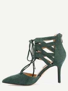 Green Faux Suede Pointed Out Cutout Pumps