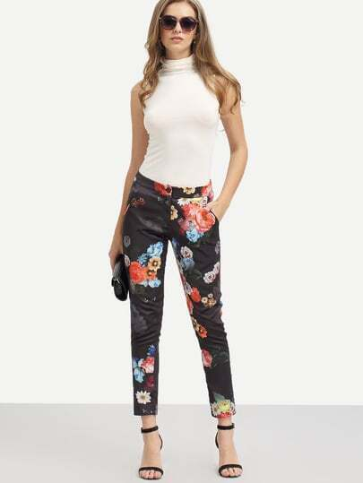 Multicolor Flower Print Pockets Pants