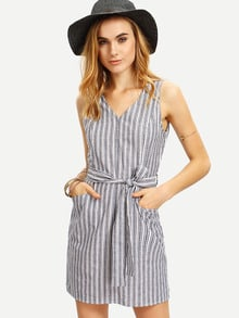 Multicolor Striped Sleeveless Waistband Pockets Dress