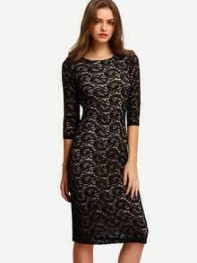 Black Half Sleeve Sheath Lace Midi Dress