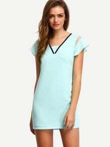 Green Ruffle Sleeve Zipper Dress