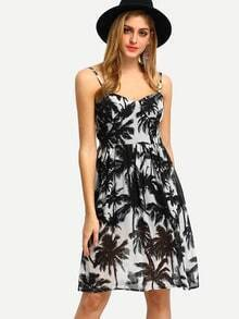 Black Sleeveless Leaves Print Dress