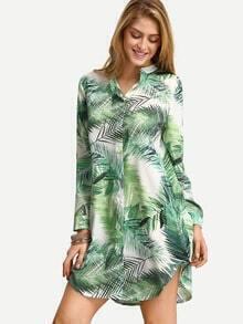 Green Long Sleeve Leaves Print Shirt Dress