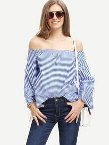 Blue White Striped Off The Shoulder Blouse