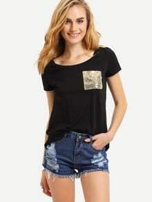 Black Short Sleeve Sequined Pocket T-shirt