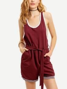 Burgundy Sleeveless Pockets Waistband Jumpsuit