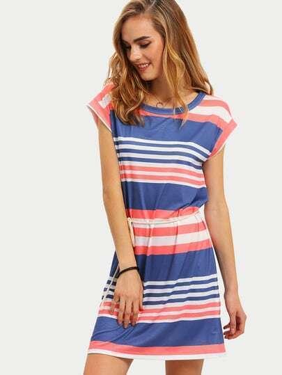 Multicolor Striped Cap Sleeve Tie Waist Dress