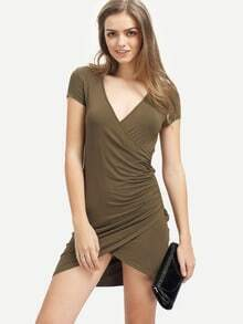 Dark Army Green V Neck Bodycon Dress