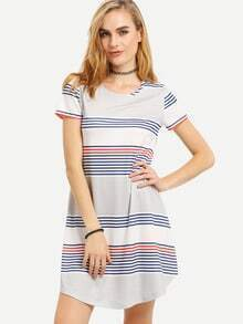 Multicolor Striped Print Short Sleeve Dress