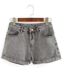 Rolled Hem Grey Denim Shorts