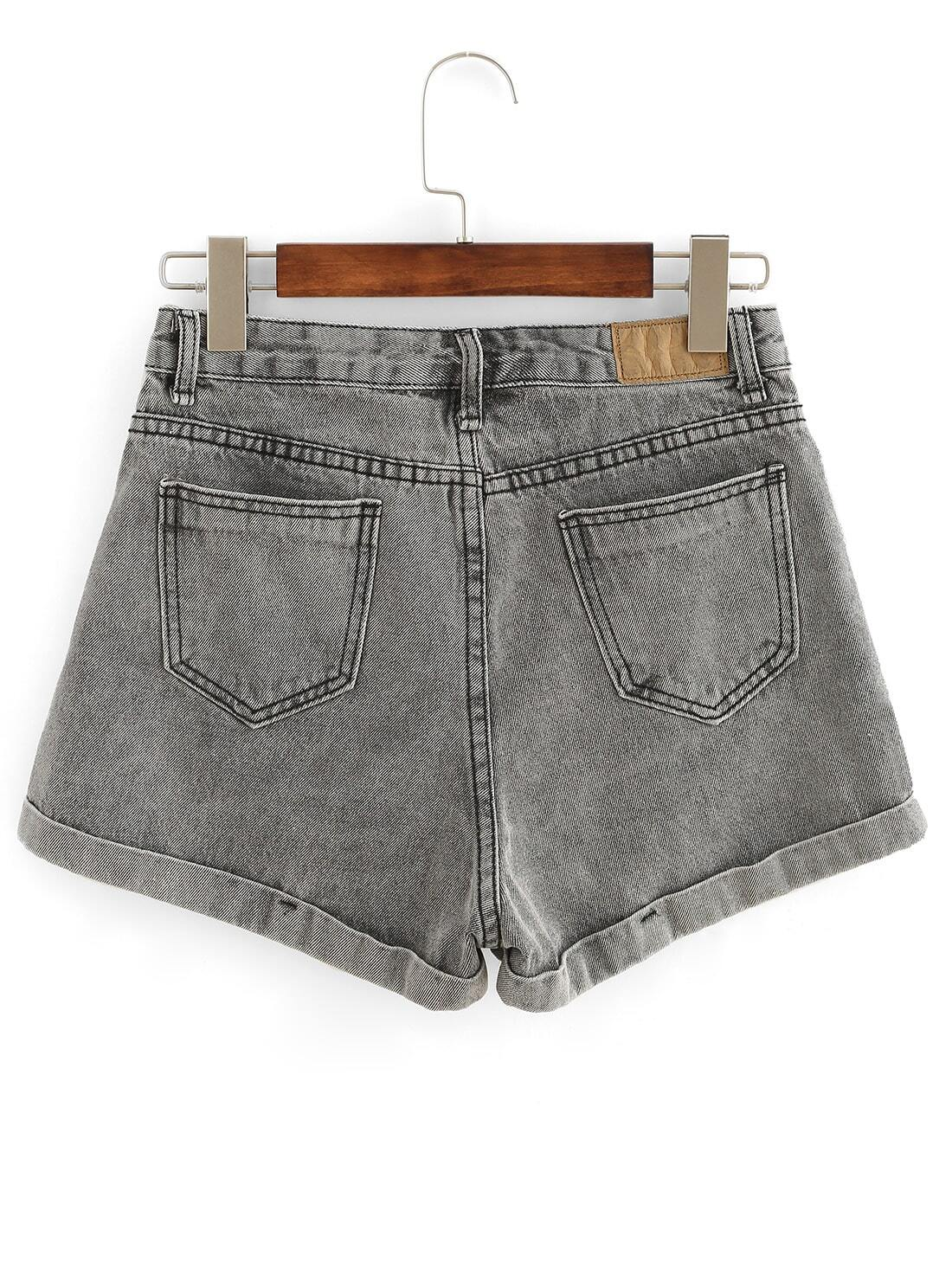rolled hem grey denim shorts sheinsheinside
