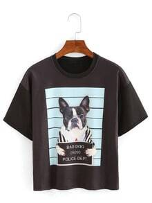 Lovely Dog Print Drop Shoulder T-shirt
