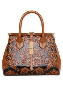 Flower Embossed Structured Tote Bag - Brown