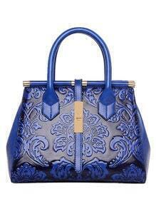 Flower Embossed Structured Tote Bag - Blue