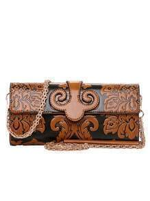 Flower Embossed Clutch With Chain - Brown