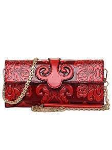 Flower Embossed Clutch With Chain - Red