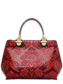 Flower Embossed Structured Handbag