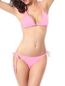 Side-Tie Triangle Bikini Set - Pink