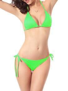 Side-Tie Triangle Bikini Set - Green