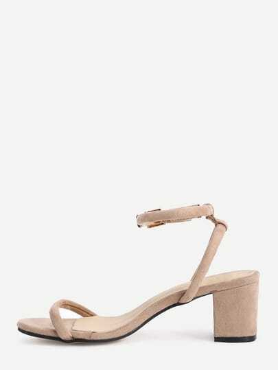 Apricot Faux Suede Ankle Strap Chunky Sandals