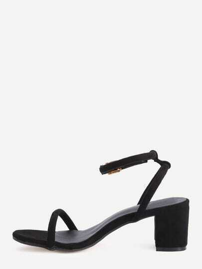 Black Faux Suede Ankle Strap Chunky Sandals