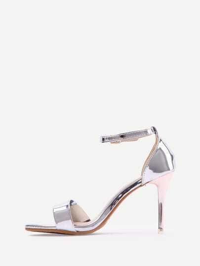 Silver Open Toe Ankle Strap High Stiletto Pumps