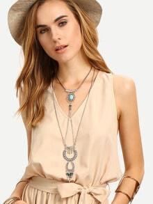 Серебристое ожерелье с бирюзой