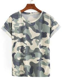 Camouflage Rolled Sleeve T-shirt