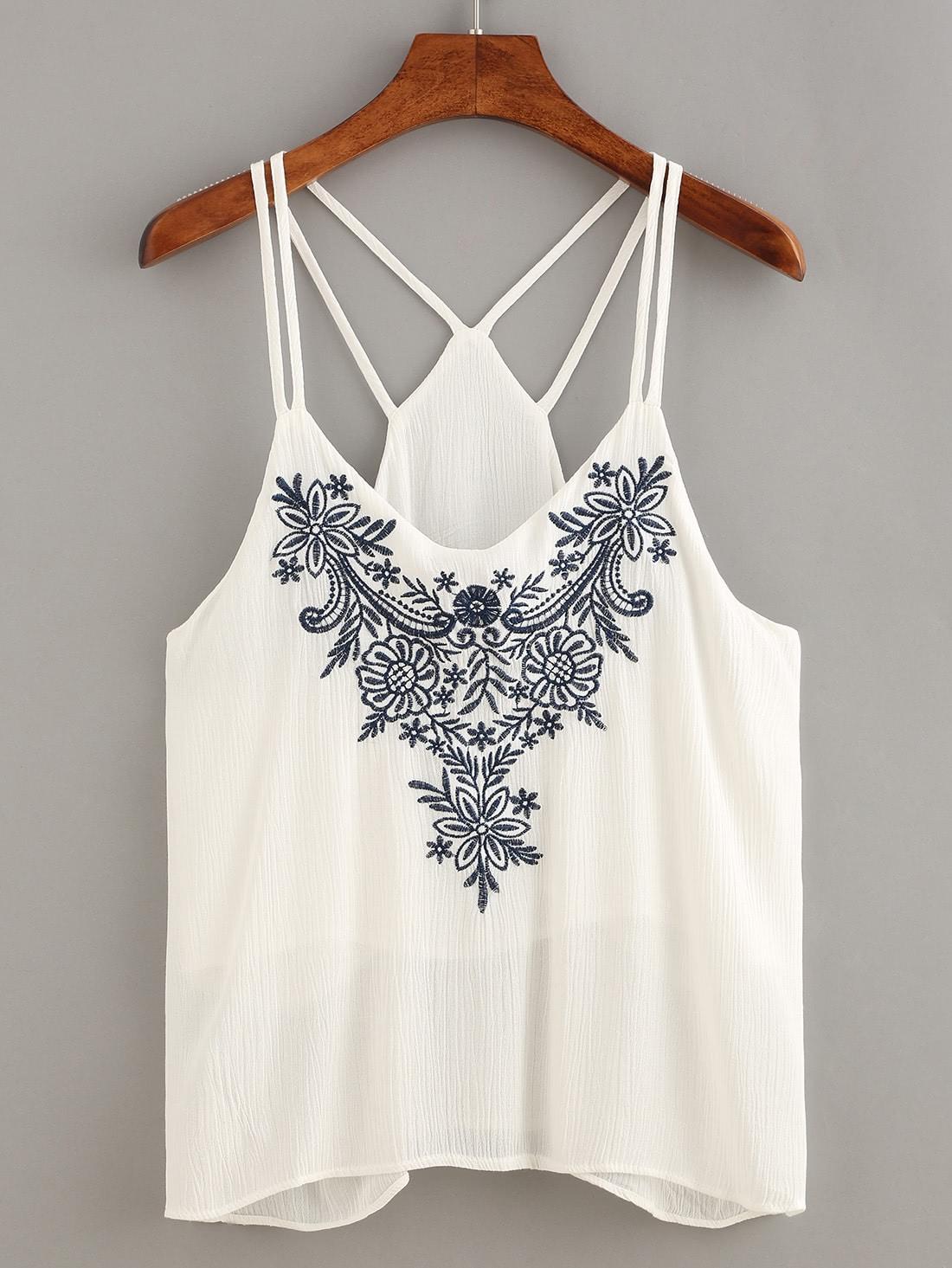 Купить Белый модный топ с вышивкой, null, SheIn