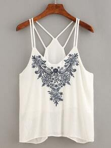 Flower Embroidered Strappy Cami Top