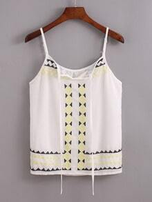 Embroidery Tie-Neck Cami Top - White