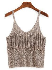 Hollow Out Fringe Cami Top