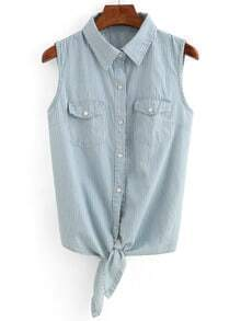Vertical Striped Tie-Front Sleeveless Blouse - Light Blue
