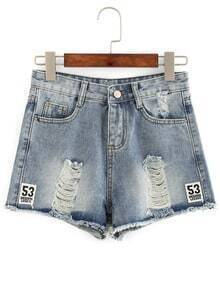 Number Patch Frayed Denim Shorts