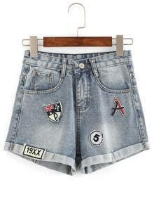 Rolled Hem Patch Denim Shorts