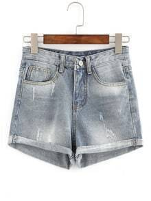 Rolled Hem Frayed Denim Shorts