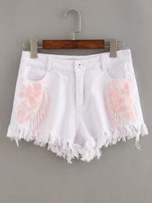 Beaded Raw Hem White Denim Shorts