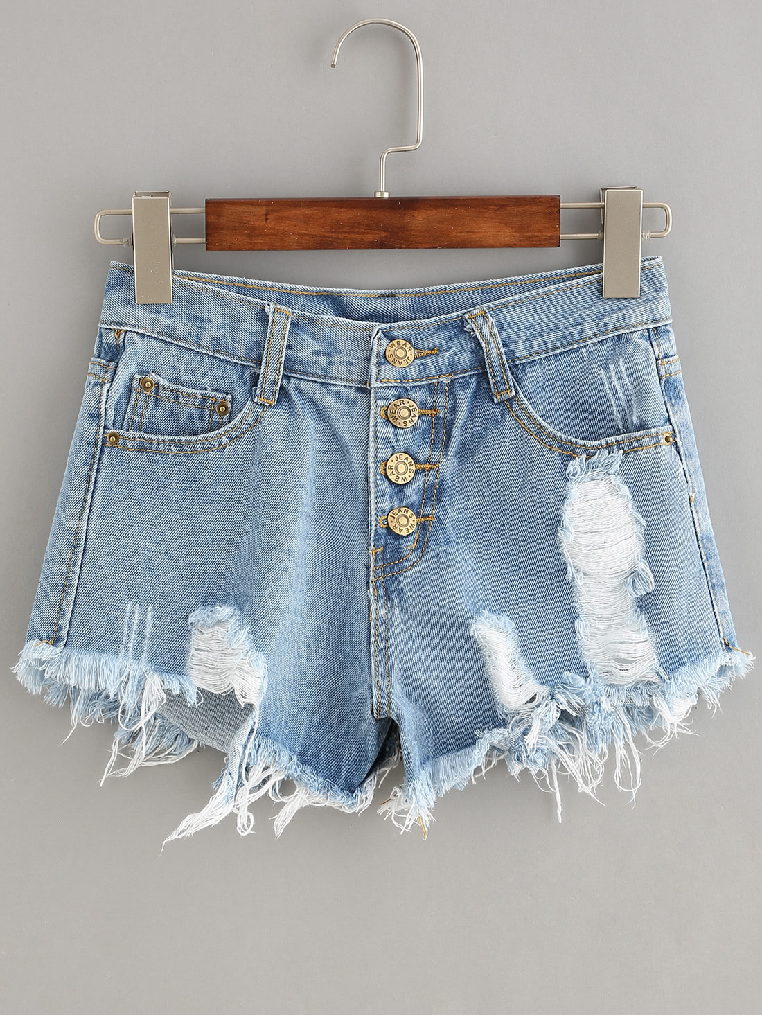 Button Fly Distressed Denim Shorts thumbnail