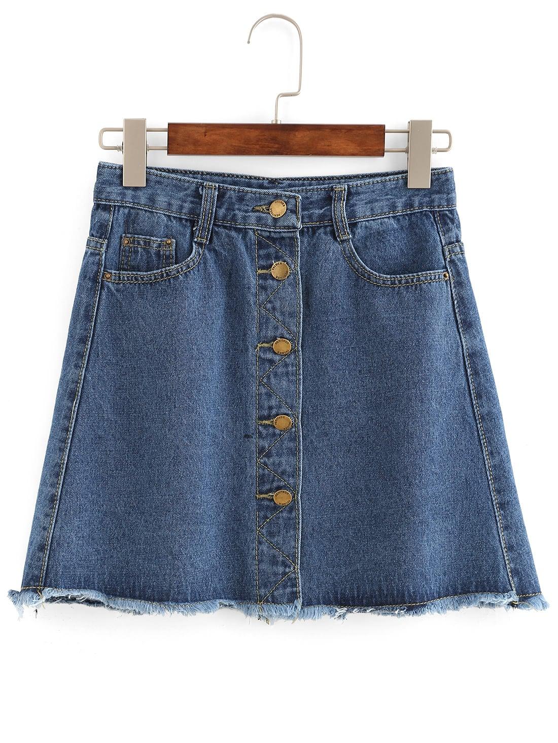 Фото Buttoned Front Raw Hem A-Line Skirt. Купить с доставкой