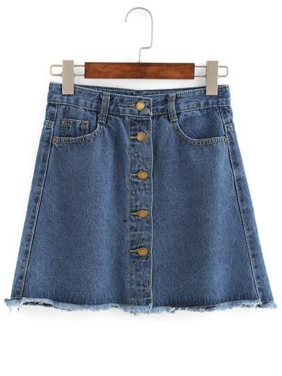 Buttoned Front Raw Hem A-Line Skirt -SheIn(Sheinside)