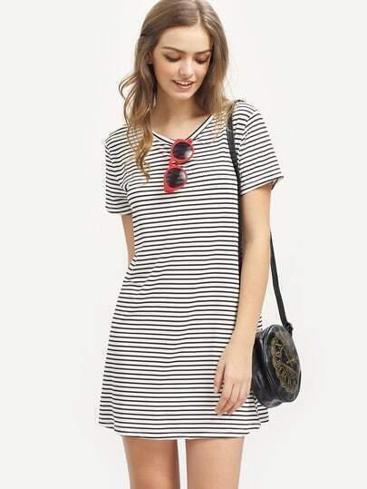 Striped Short Sleeve Shift Dress