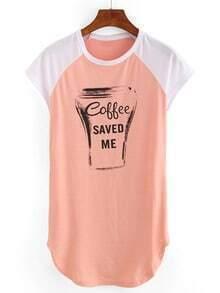 Graphic Print Raglan Sleeve T-shirt