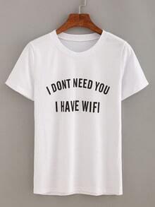 Letter Print Short Sleeve T-shirt