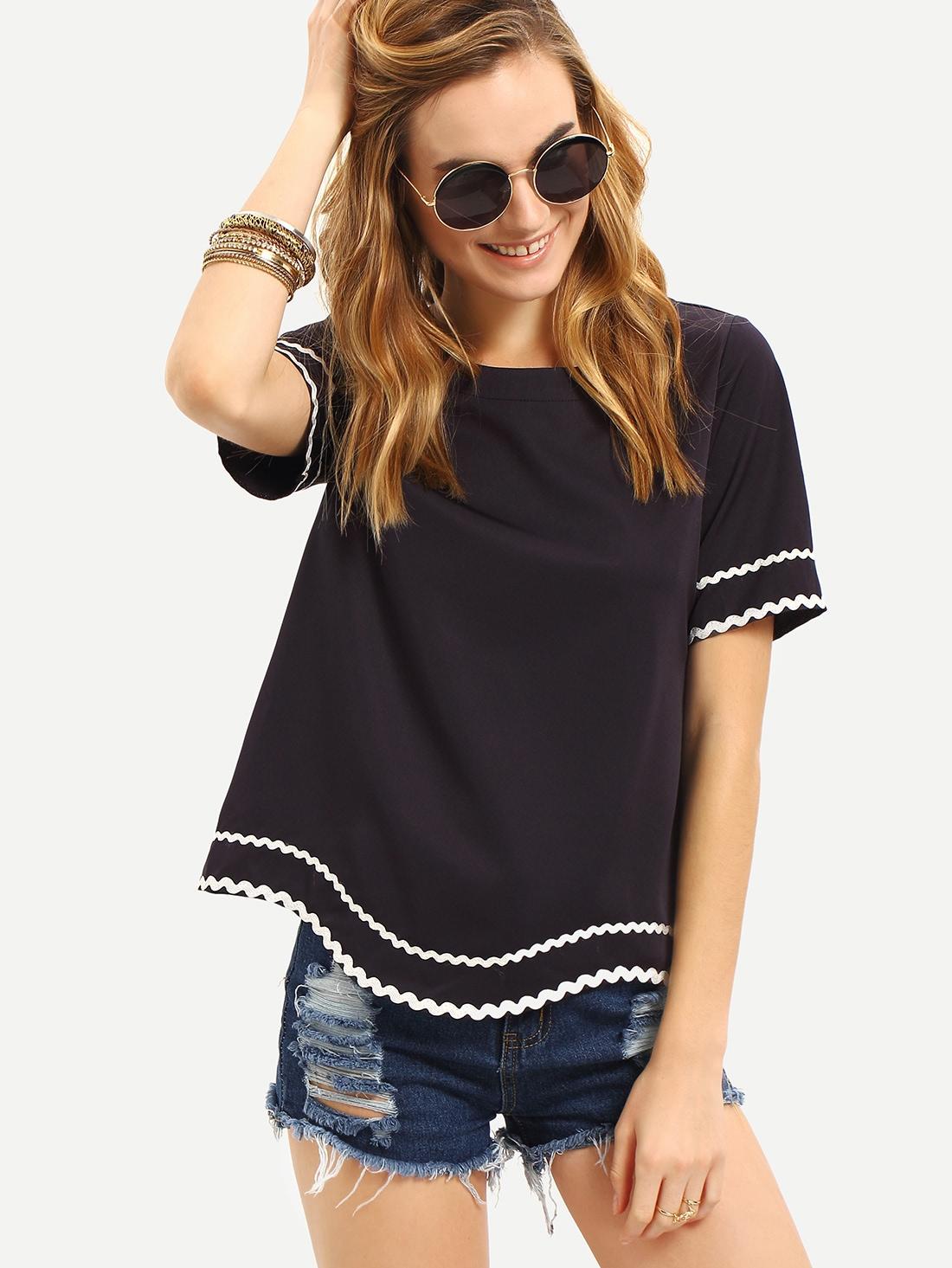 Купить Тёмно-синяя модная футболка с вышивкой, null, SheIn