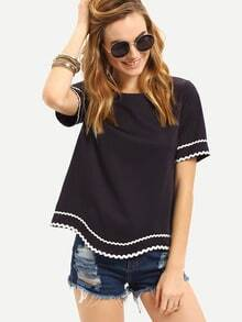 Navy Waved Print Trim Short Sleeve Blouse