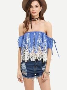 Blue White Crochet Off The Shoulder Blouse