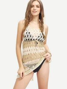 White Gold Hollow Sleeveless Knitted Tank Top